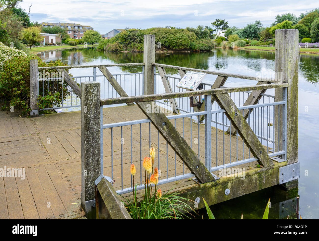 La plate-forme d'observation en bois sur le lac à Mewsbrook Park, Littlehampton, West Sussex, Angleterre. Photo Stock