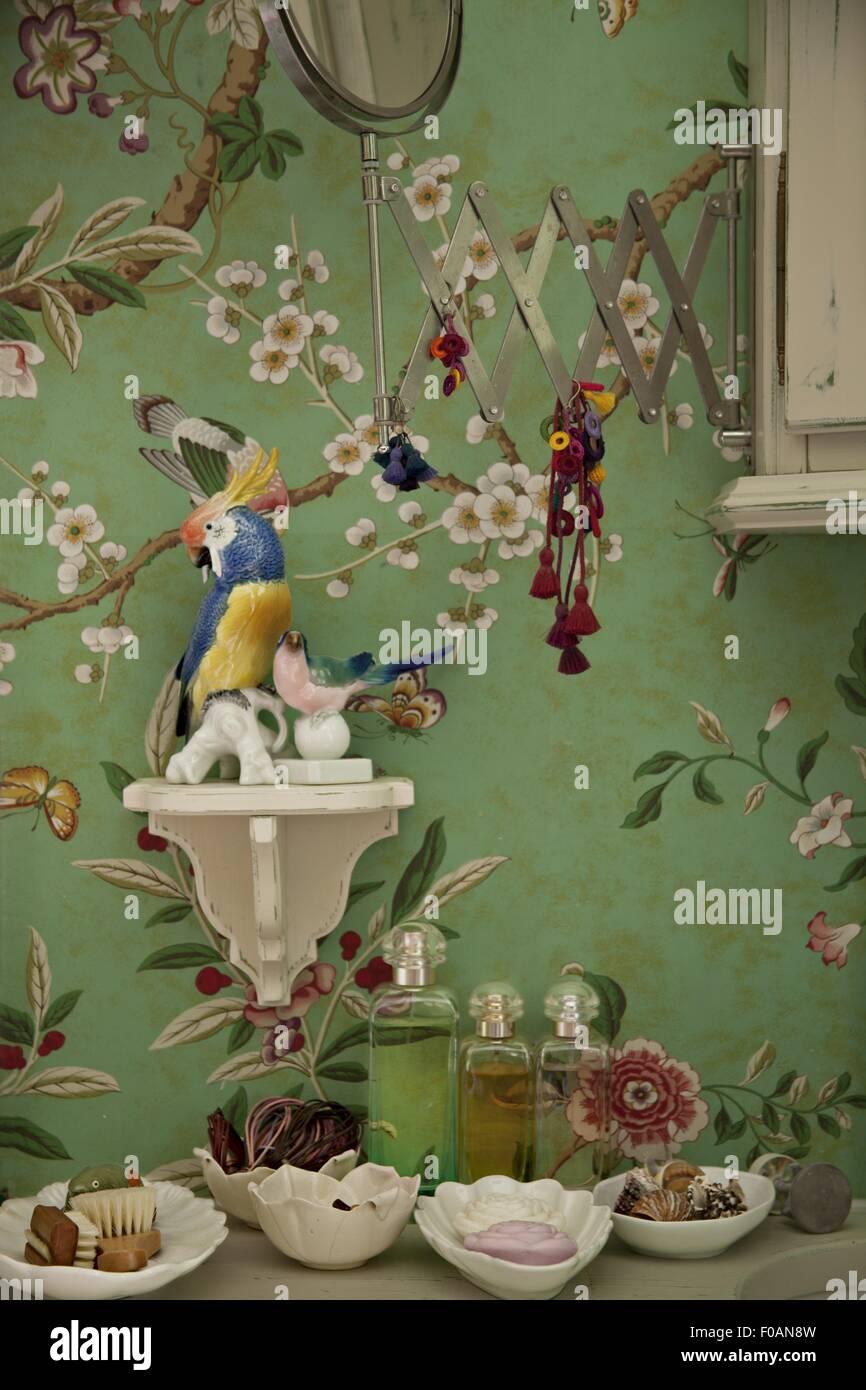 Papier Peint Avec Perroquet papier peint avec motif floral, perroquet, céramique