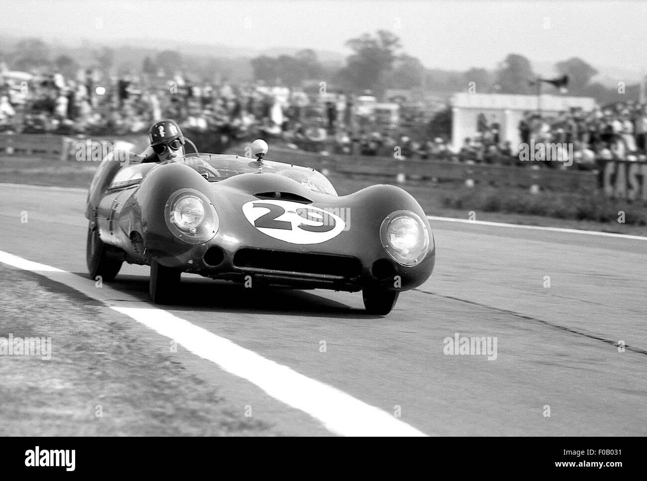Tourist Trophy de Goodwood 5e septembre 1959. Graham Hill, Alan Stacey Lotus 15 Climax. Photo Stock