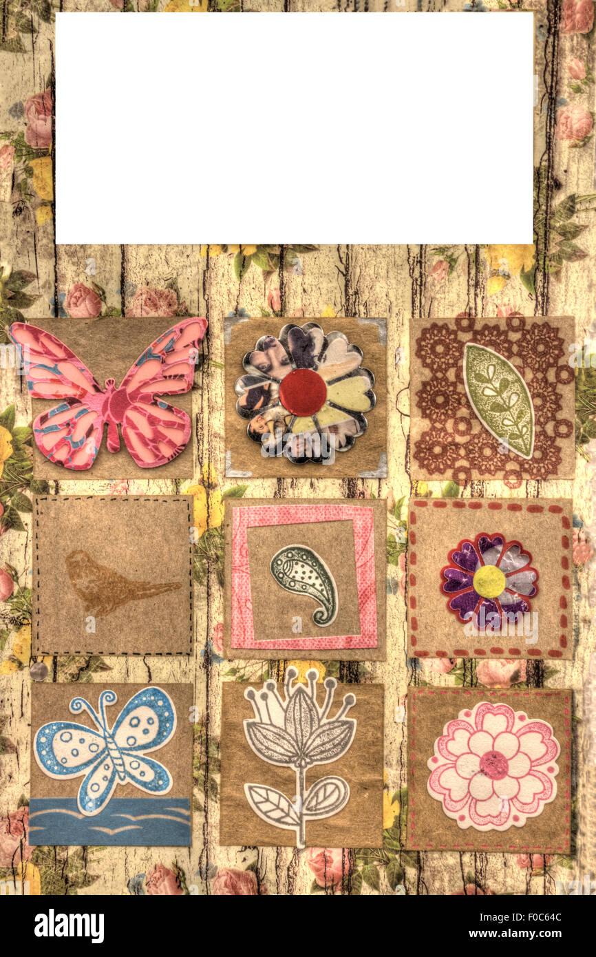 Une vue verticale d'une page d'album coloré décoré, Gabarit Photo Stock