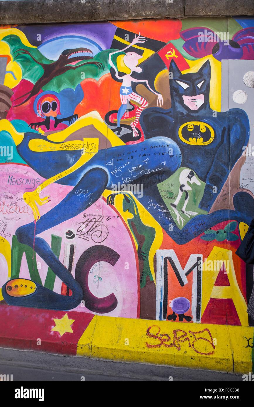 East Side Gallery street art sur mur de Berlin, Muhlenstrasse Photo Stock