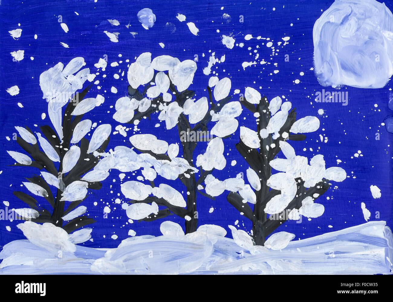 La Nuit De Noel Dans La Foret Avec La Pleine Lune Dessin De L