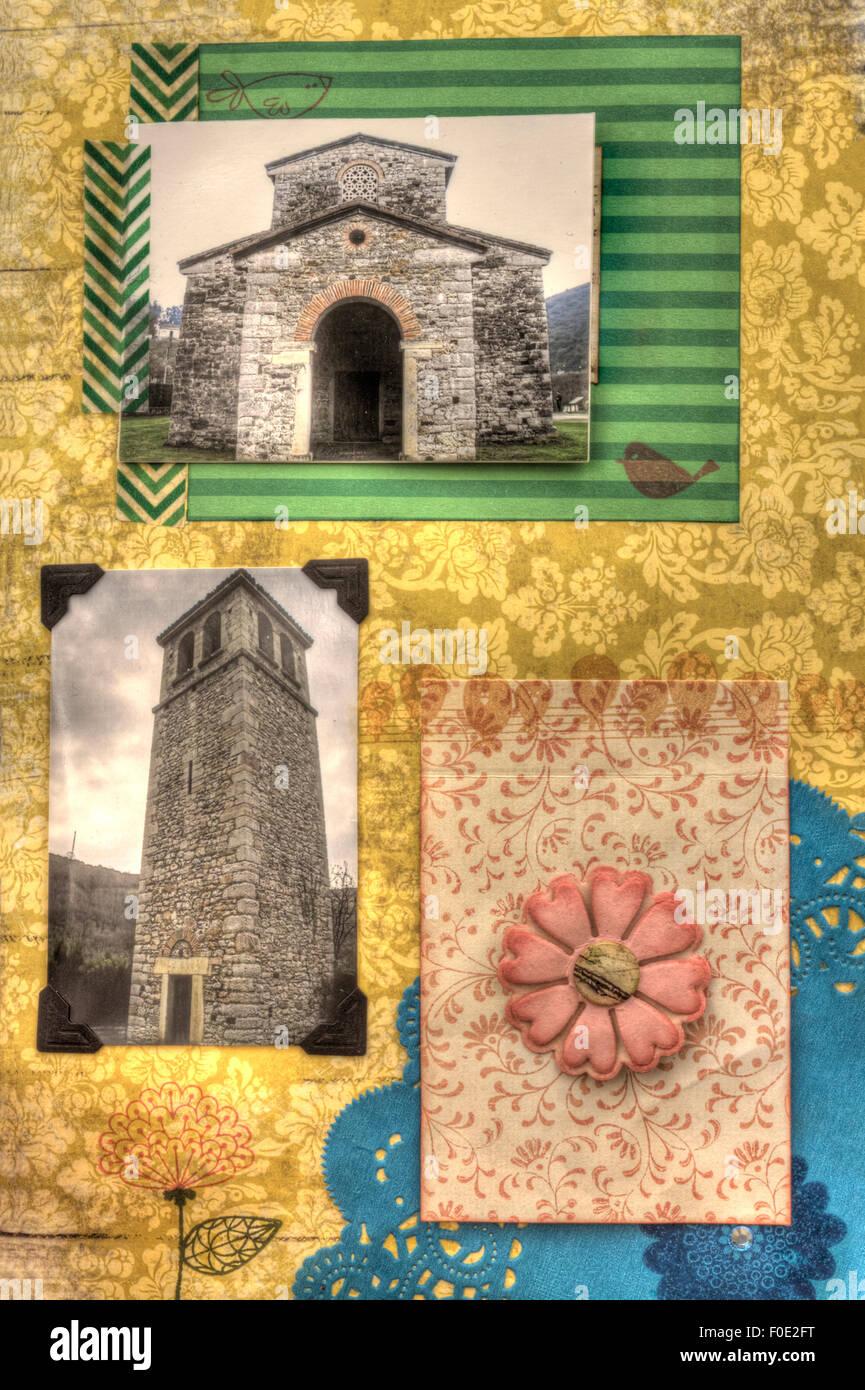 Une vue verticale d'une page d'album coloré décoré de fleurs, Photo Stock