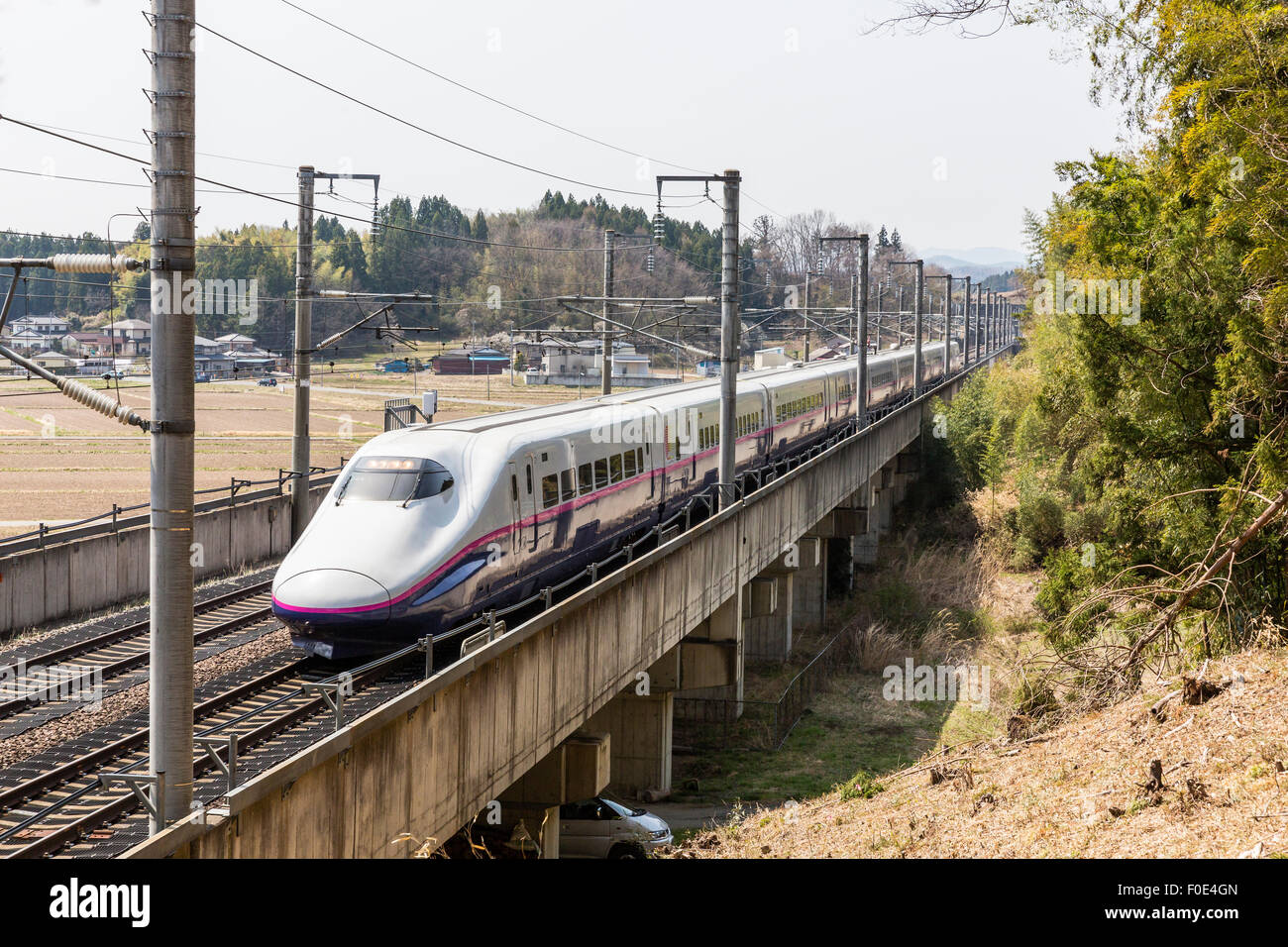 Bullet train de Tohoku au Japon Photo Stock