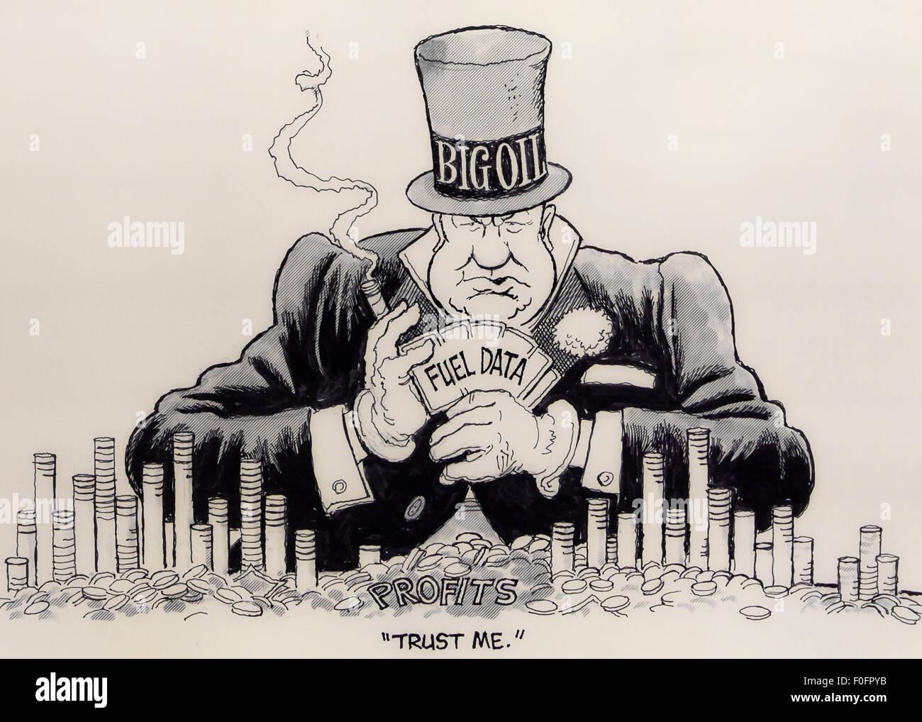 'Faire confiance caricature par Doug Marlette, vers 1973, avec les grandes pétrolières - USA Photo Stock