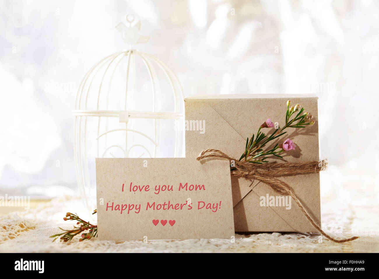 Happy Mothers Day, fait main card stock présent fort et carte de souhaits Photo Stock