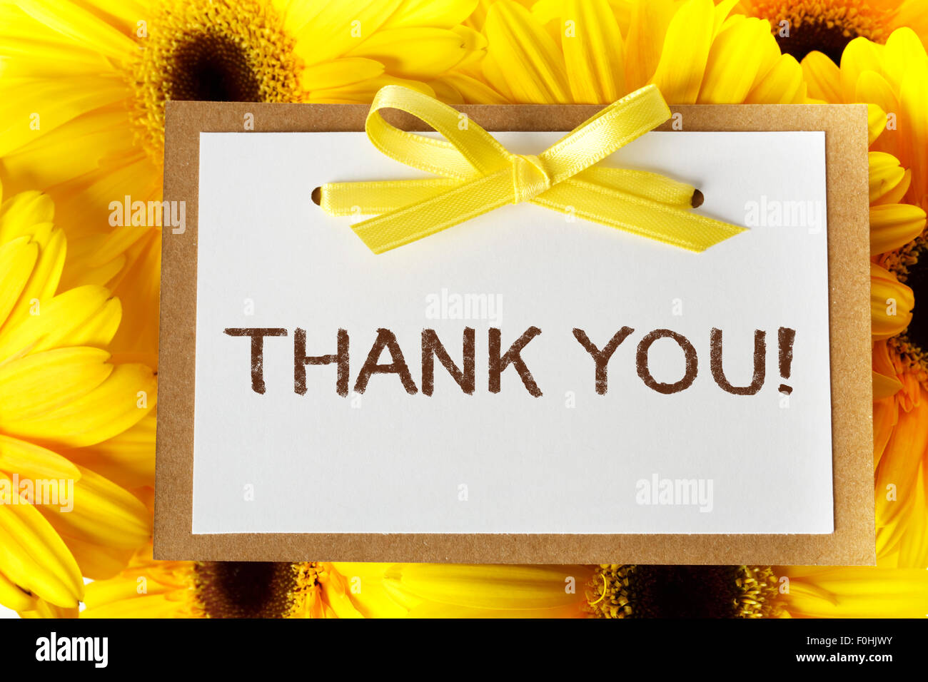 Merci carte message avec gerberas jaune Photo Stock