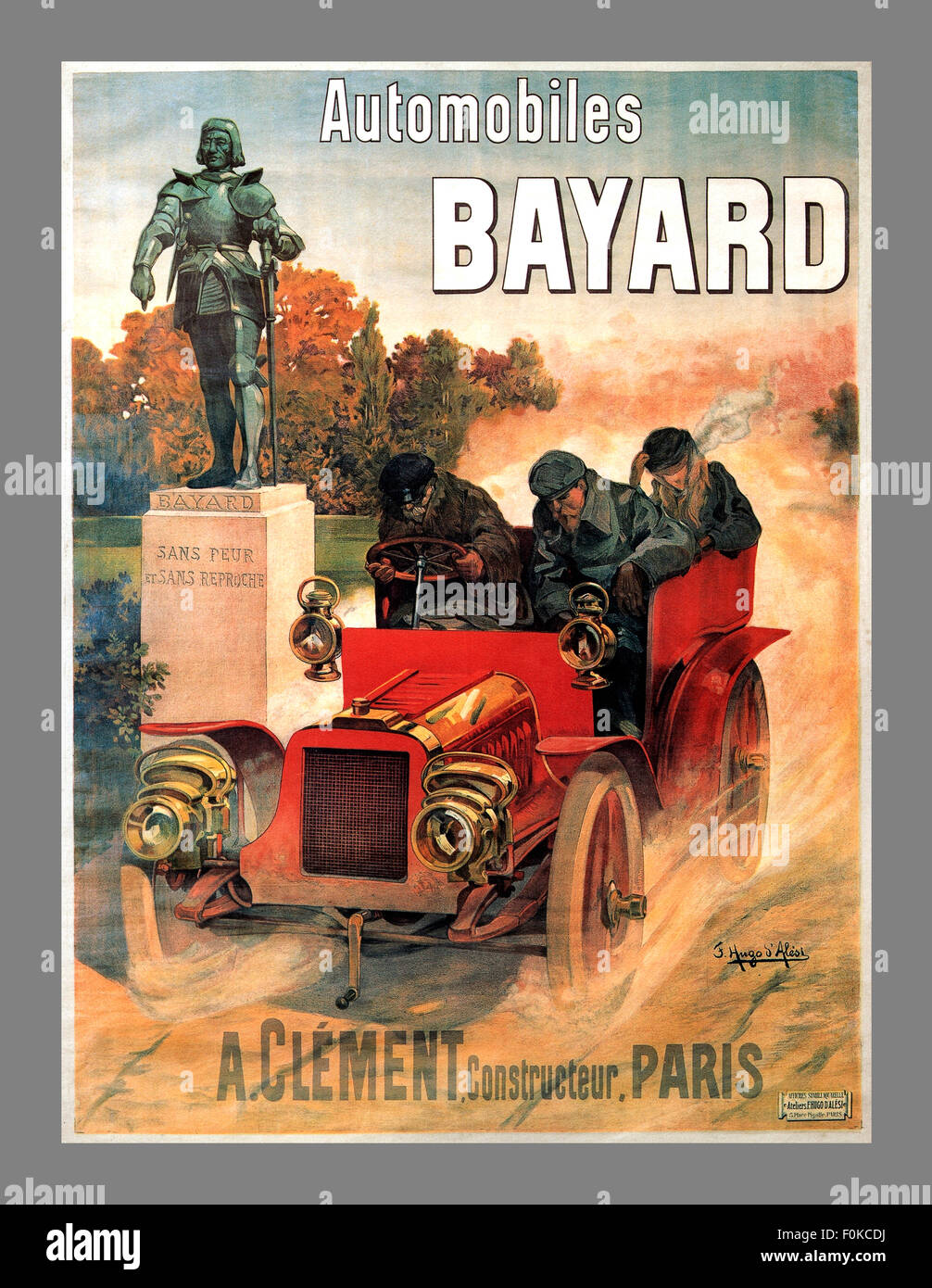 1900 Voiture de courses automobiles BAYARD CLEMENT PARIS FRENCH VINTAGE POSTER Photo Stock