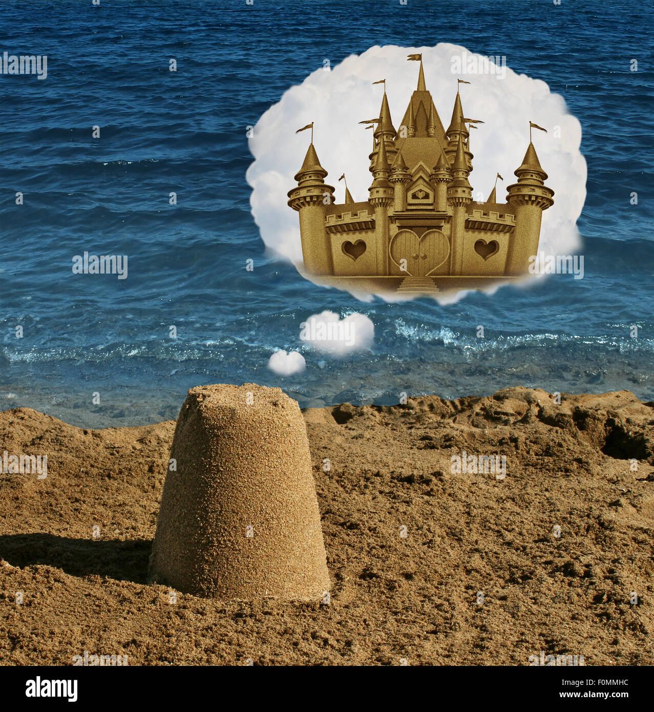 Pensez grand concept et la visualisation positive comme un symbole de la forme ordinaire de base du sable de rêver Photo Stock