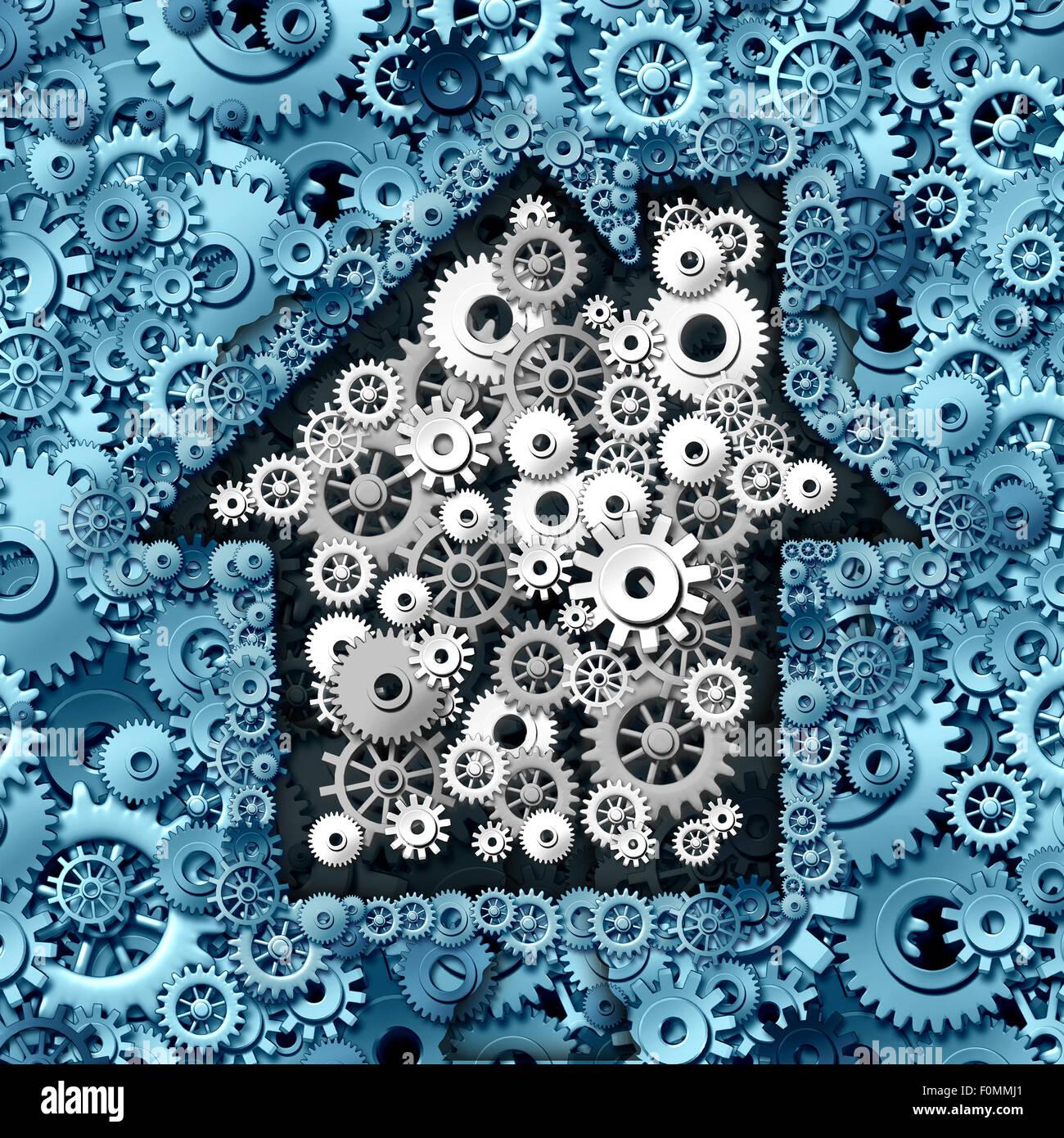 Immobilier concept comme maison ou home automation faite d'engrenages et de roues à crémaillère Photo Stock