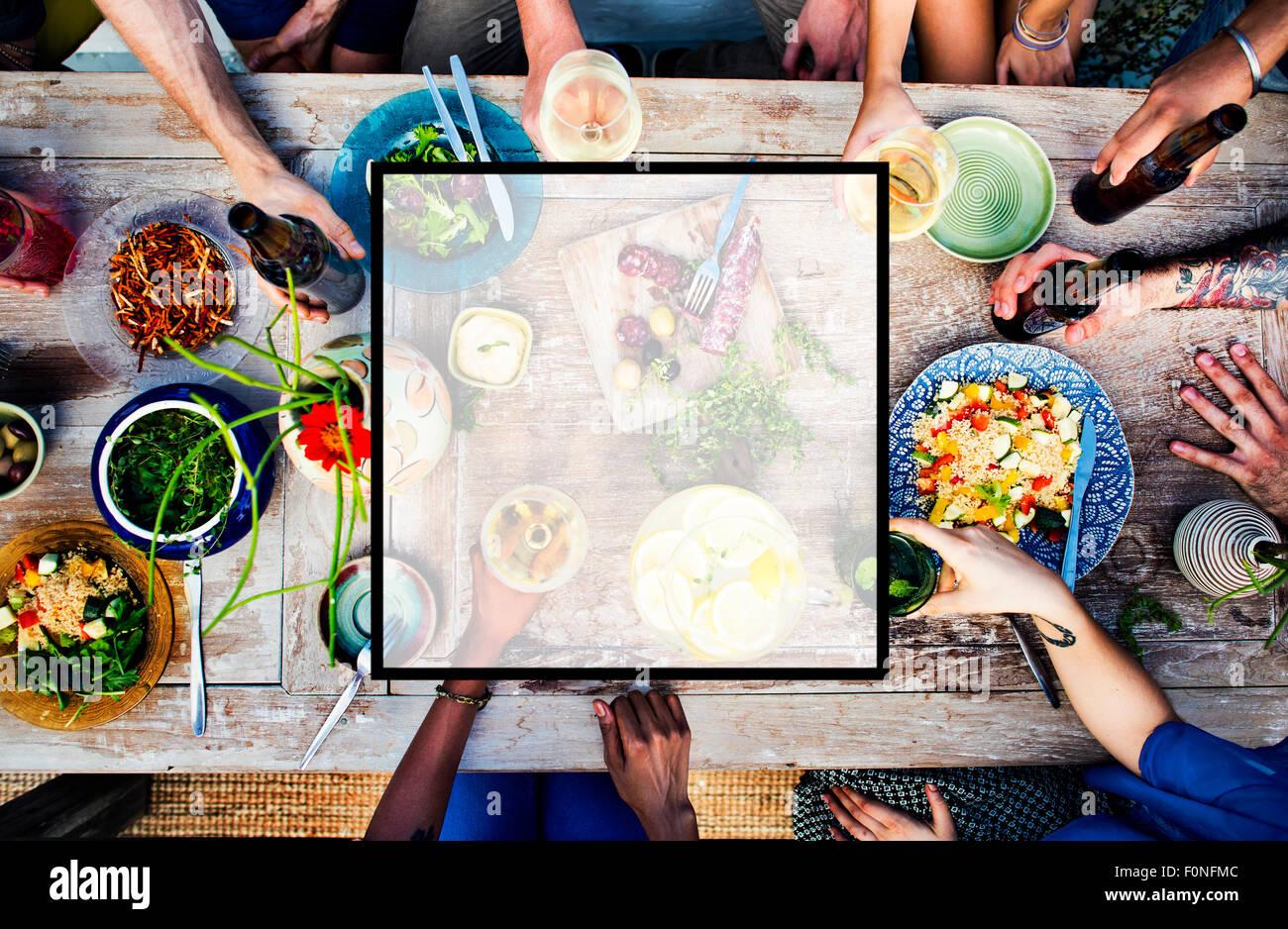 Ensemble d'été carré amitié copie Espace Concept Photo Stock