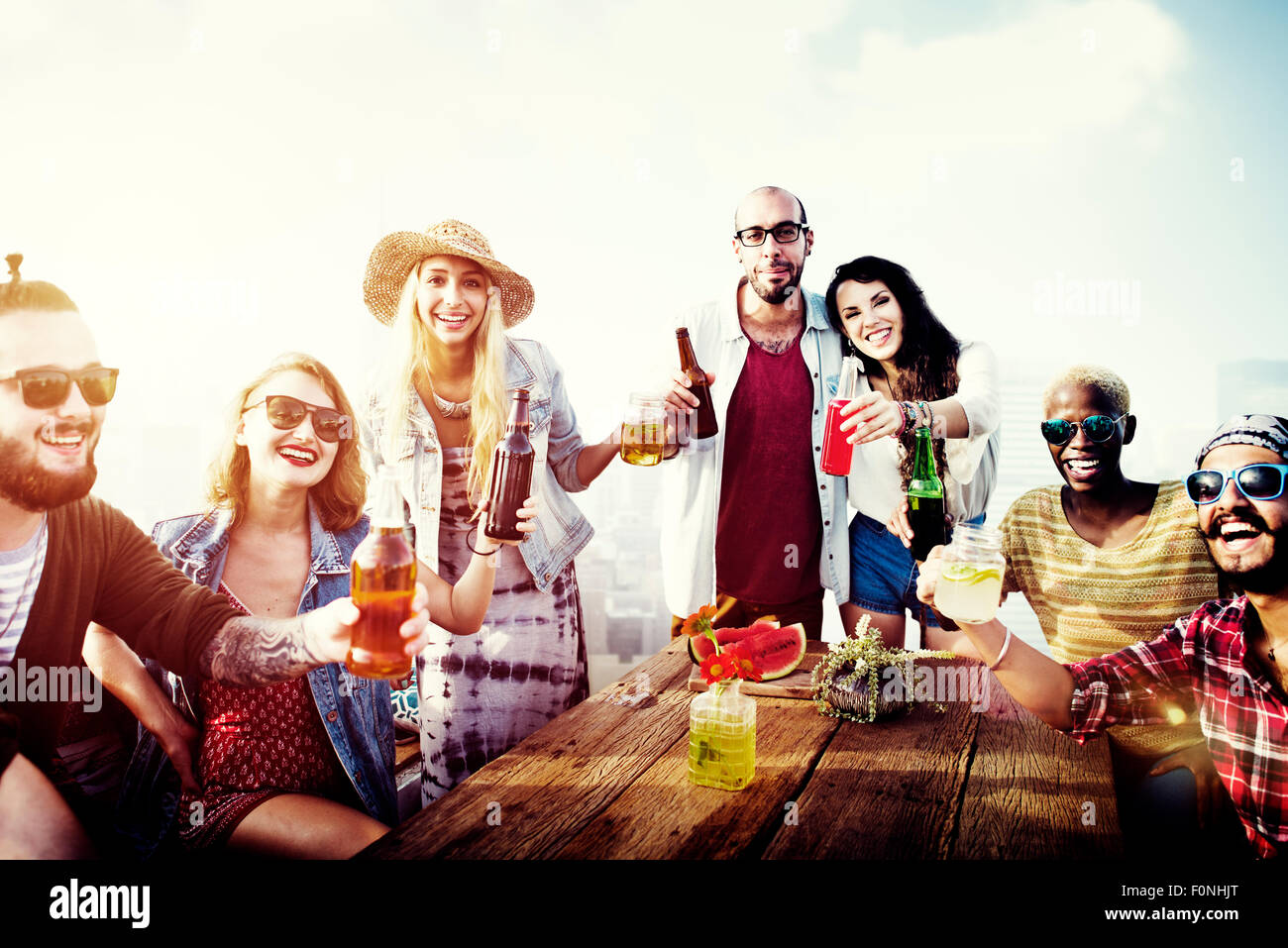 Gens divers amis Concept Potable Photo Stock