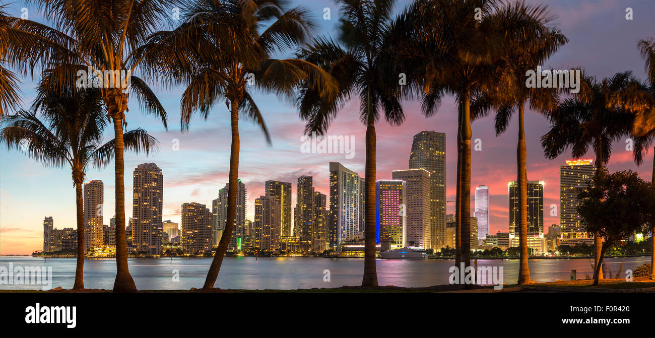 Floride, Miami Skyline at Dusk Photo Stock