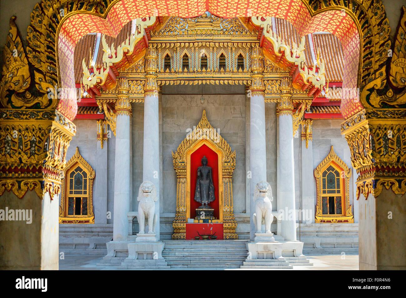 Thaïlande, Bangkok, Wat Benchamabophit (temple de marbre) Photo Stock