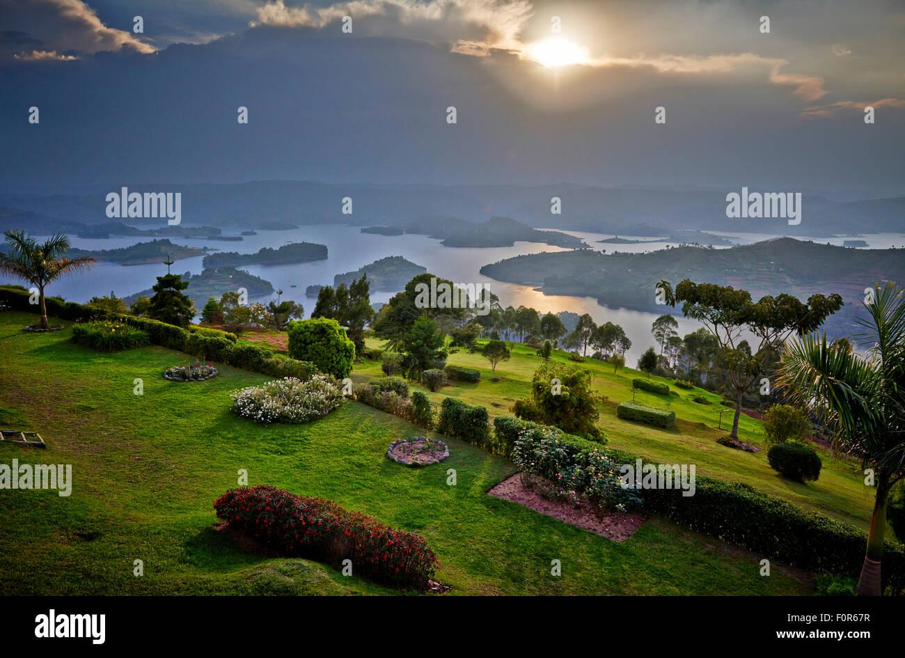 Paysage du lac Bunyonyi, Ouganda, Afrique du Sud Photo Stock