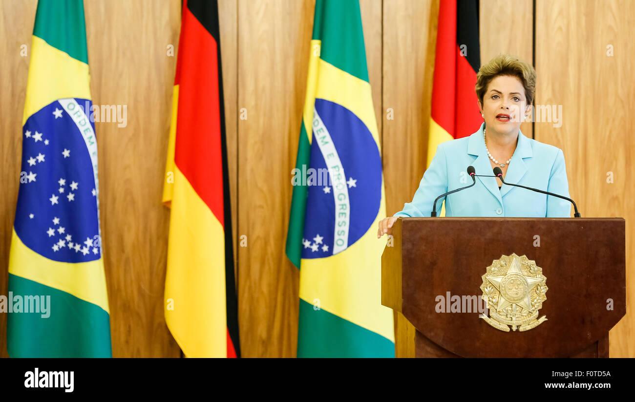 Brasilia, Brésil. 20e Août, 2015. Image fournie par la présidence du Brésil montre la présidente Photo Stock
