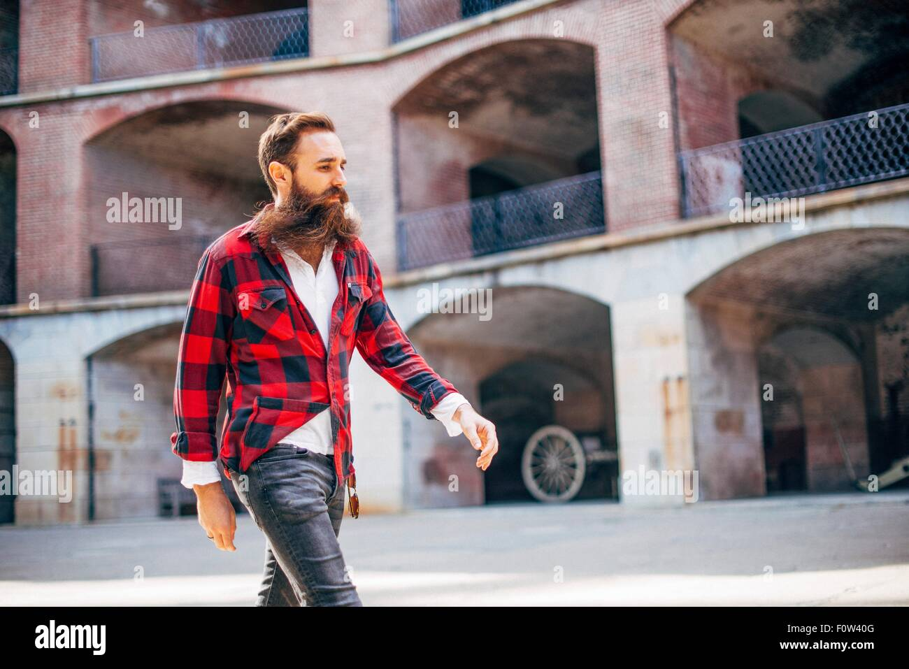 Homme avec barbe walking Photo Stock
