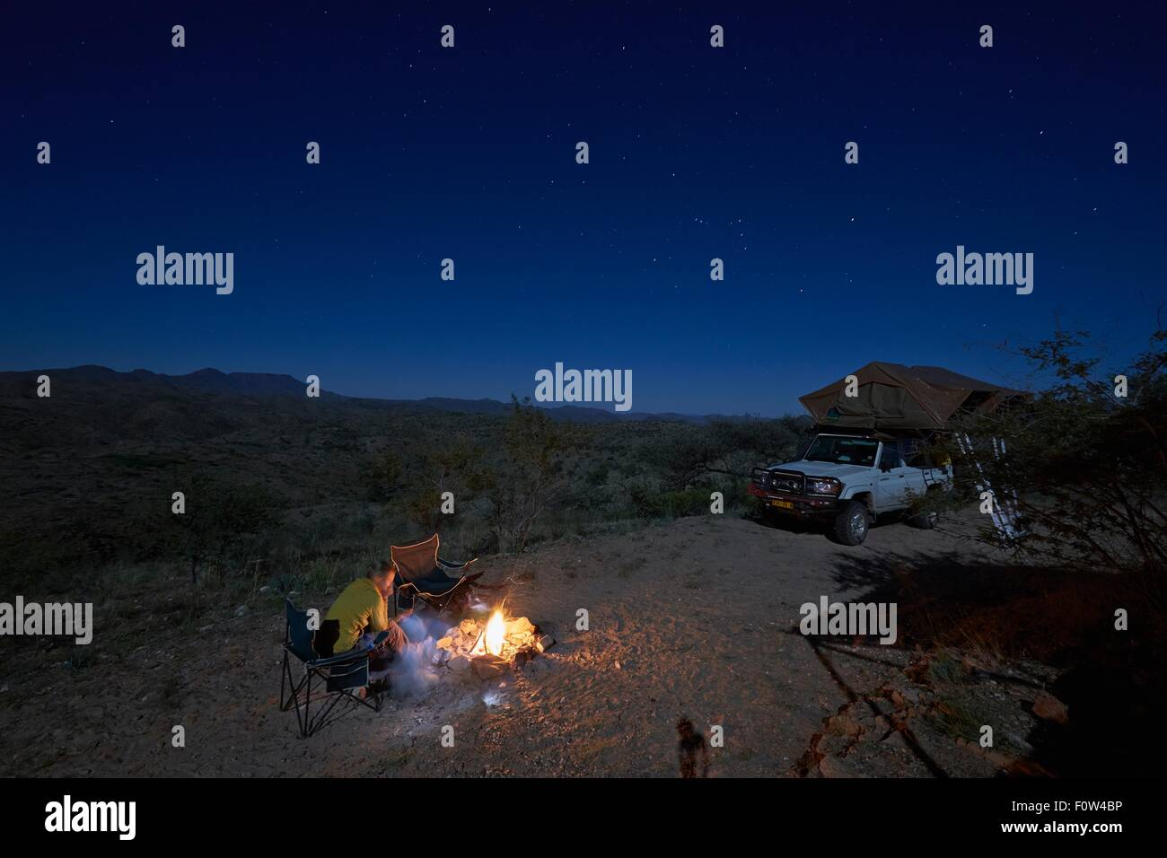 Famille au camp, Gamsberg Pass, Namibie Photo Stock