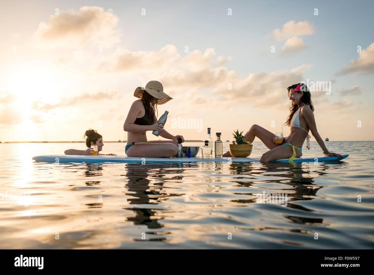 Deux jeunes femmes qui se préparent des cocktails sur paddleboard au coucher du soleil, Islamorada, Florida, Photo Stock