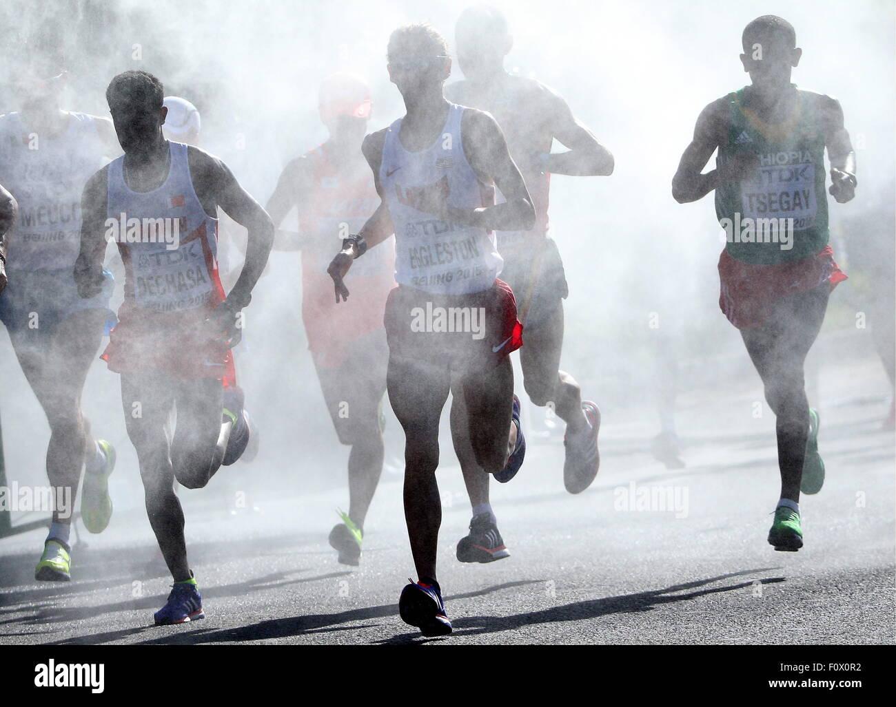 Beijing, Chine. Août 22, 2015. Les athlètes concourent dans l'épreuve du marathon à la 15e Photo Stock