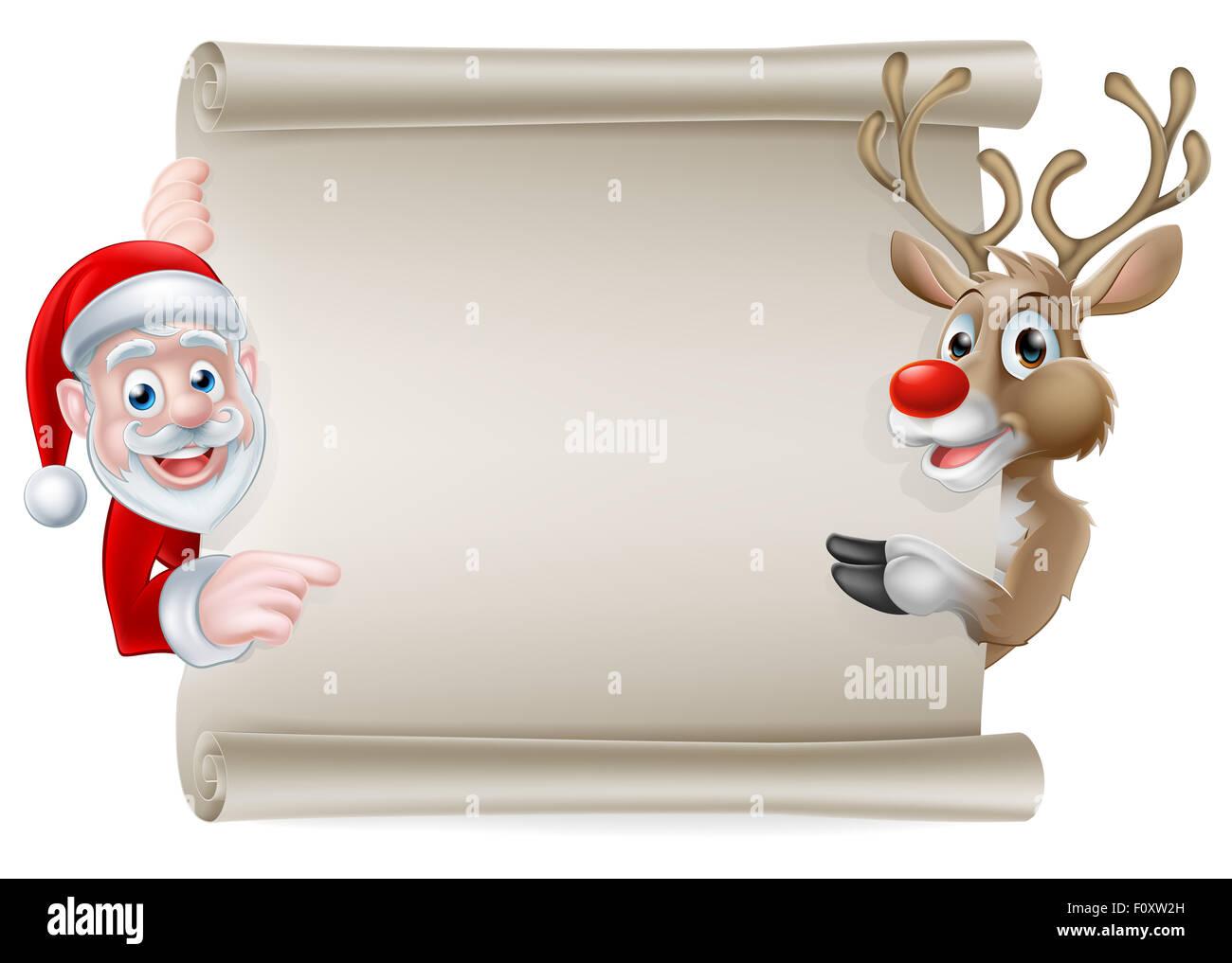 caricature de d filement de no l signe de p re no l et ses rennes pointant sur une banni re de. Black Bedroom Furniture Sets. Home Design Ideas