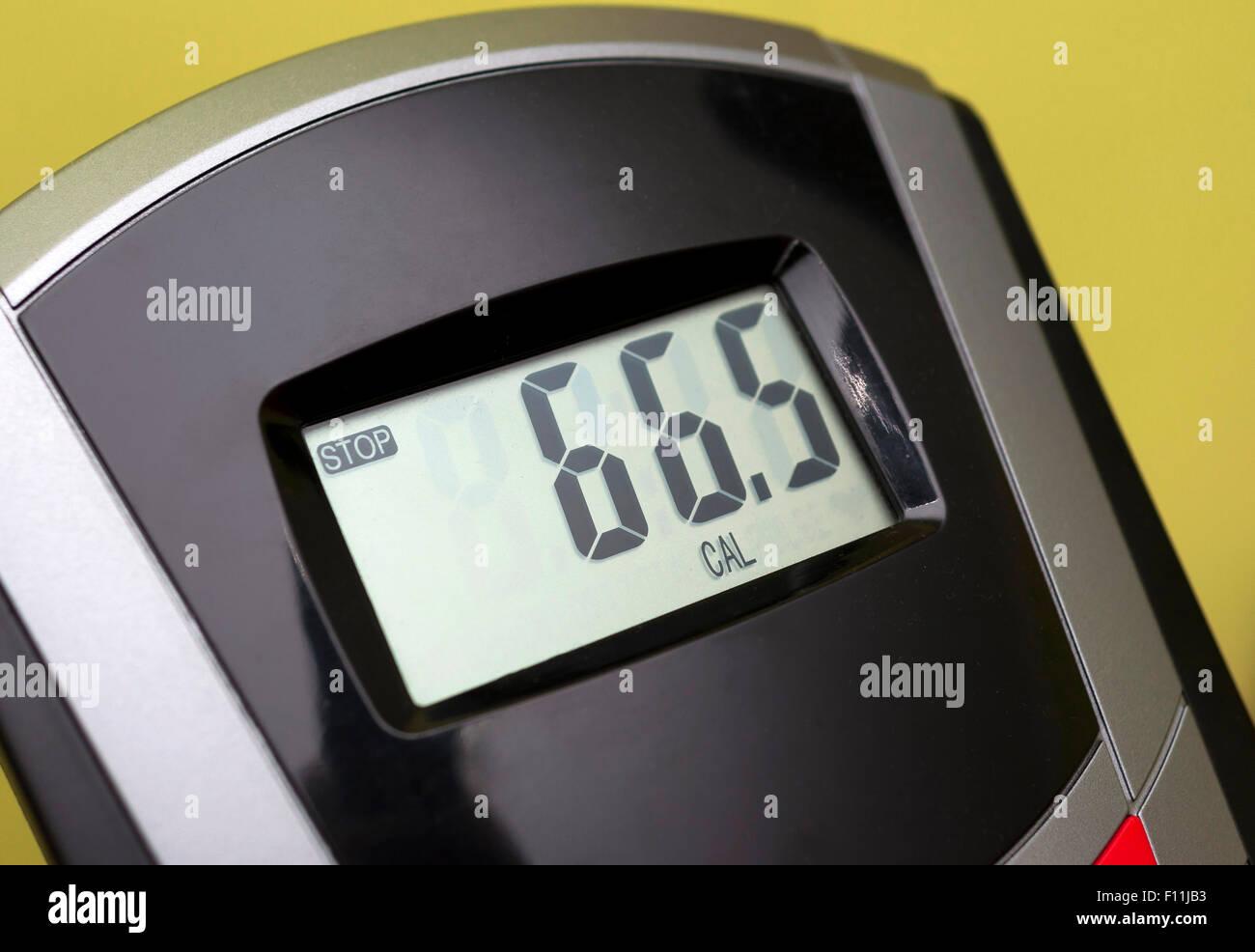 Vélo d'écran - Affiche le nombre de calories brûlées Photo Stock