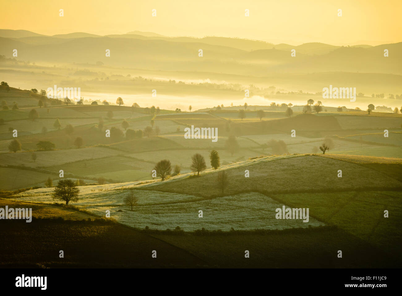 Vue aérienne de brouillard dans les terres agricoles rurales, Mandalay, Myanmar Photo Stock