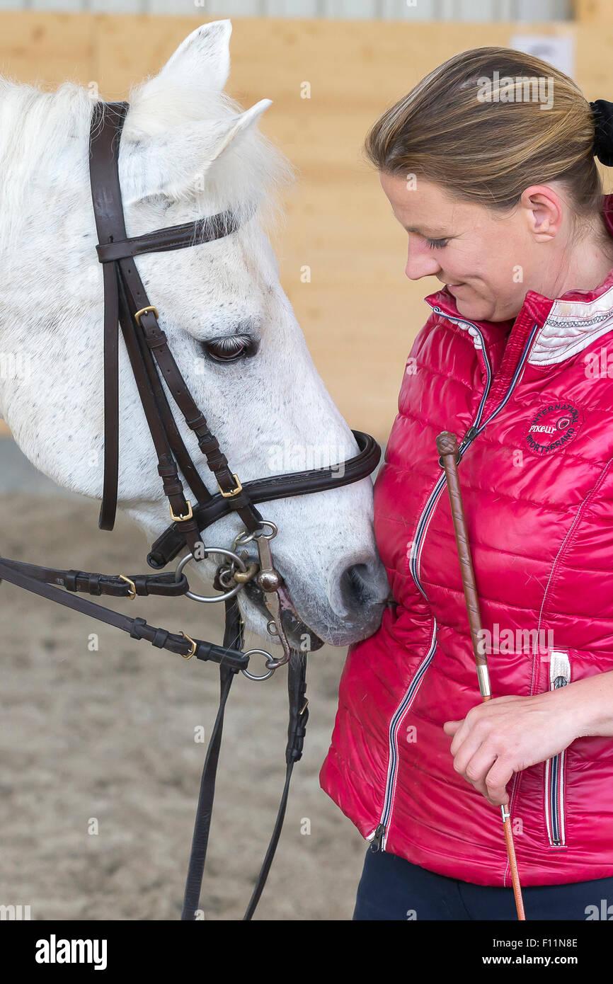 Équitation allemande Pony Rider après leçon poney blanc de lissage Banque D'Images