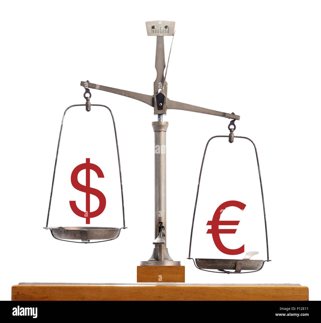 Dollar-Euro échelle monnaie Photo Stock