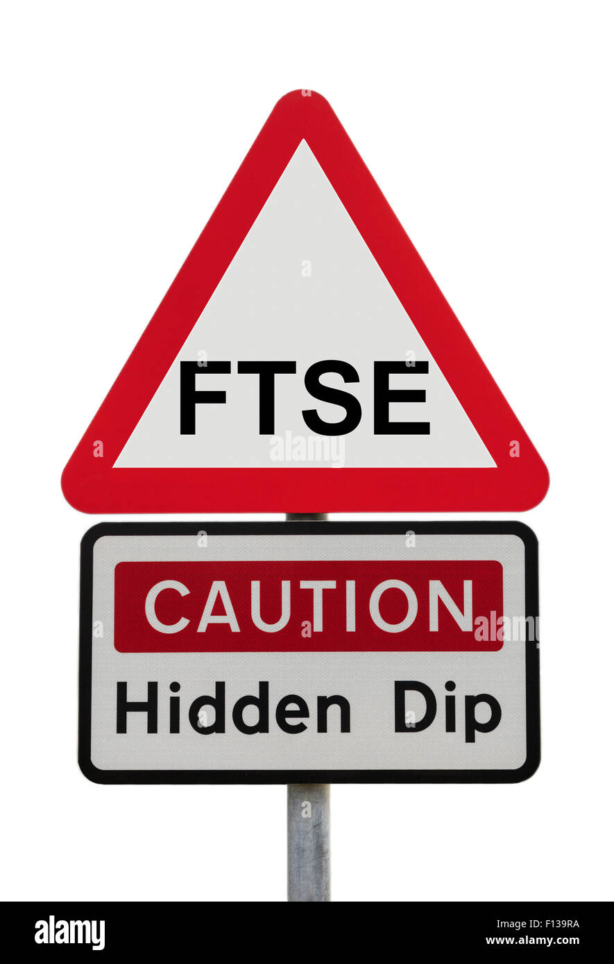Triangle rouge signe de Danger Avertissement Attention Dip cachés avec FTSE 100 pour illustrer la récession Photo Stock
