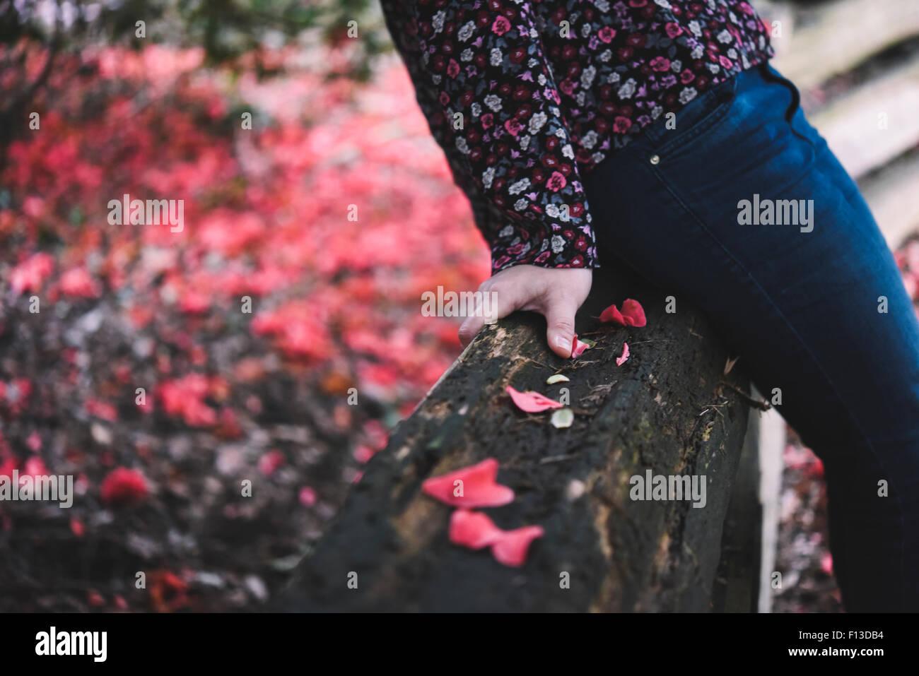 Close-up of mid section d'une femme assise sur une clôture en bois Photo Stock