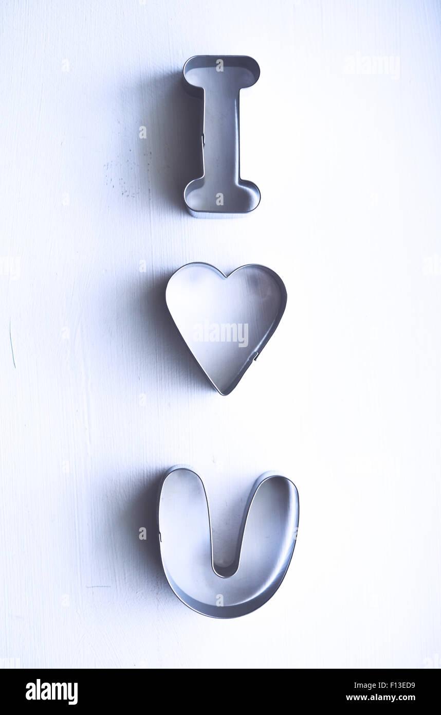 Je t'aime message en métal emporte-pièces Photo Stock