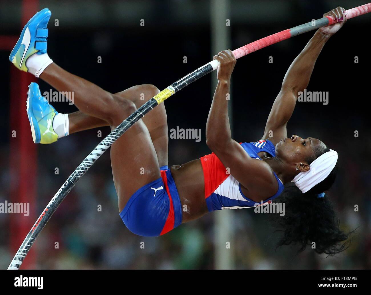 Beijing, Chine. Août 26, 2015. Yarisley Silva de Cuba est en concurrence pour gagner la finale du saut à Photo Stock