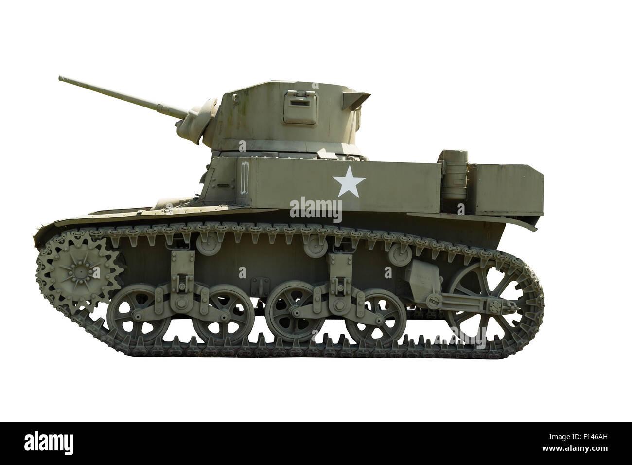 M-3A1 Stuart Light Tank sur un fond blanc. Banque D'Images