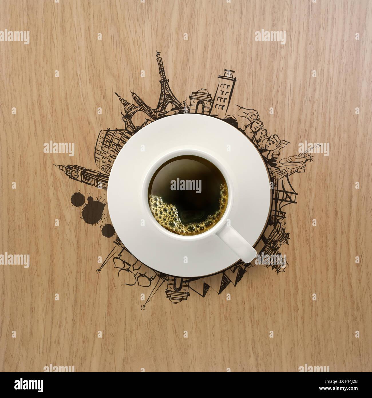tasse de café 3d voyager autour du monde sur fond de bois comme