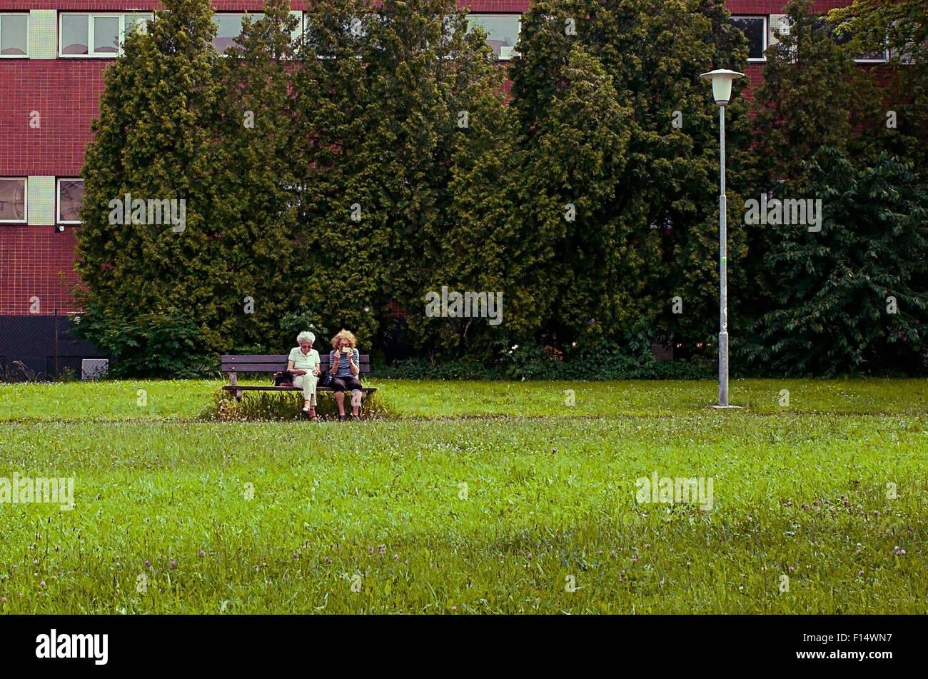 Les femmes âgées couple sur un banc Photo Stock