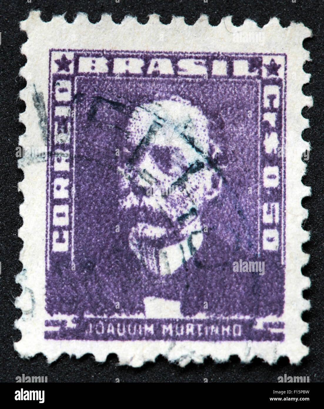 Brésil Joauuim Murtinno 50 Correio purple stamp Banque D'Images