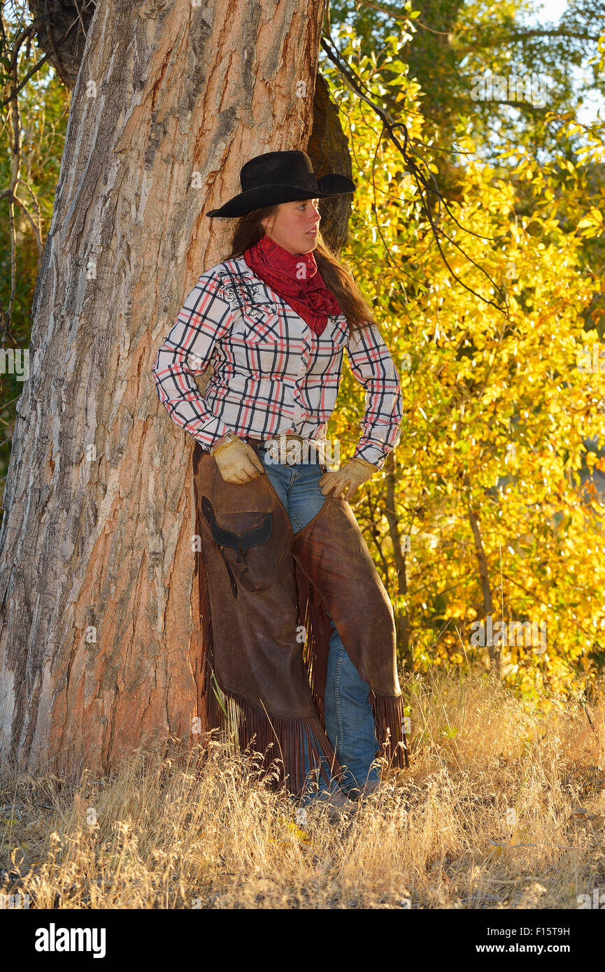 Portrait de Cowgirl, Shell, Wyoming, USA Banque D'Images