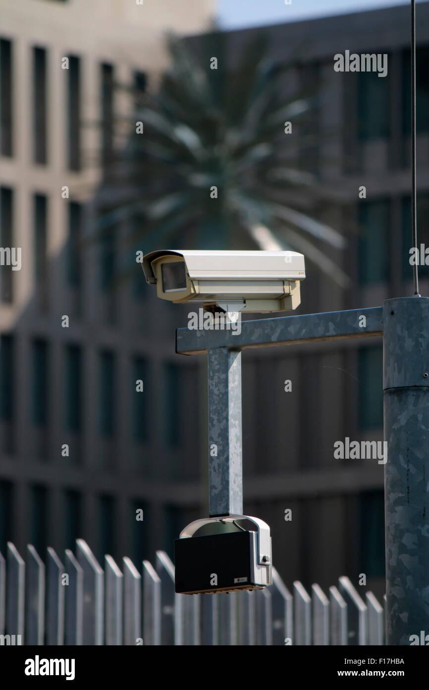 Ueberwachungskamera an der neuen Zentrale des BND, Berlin. Photo Stock