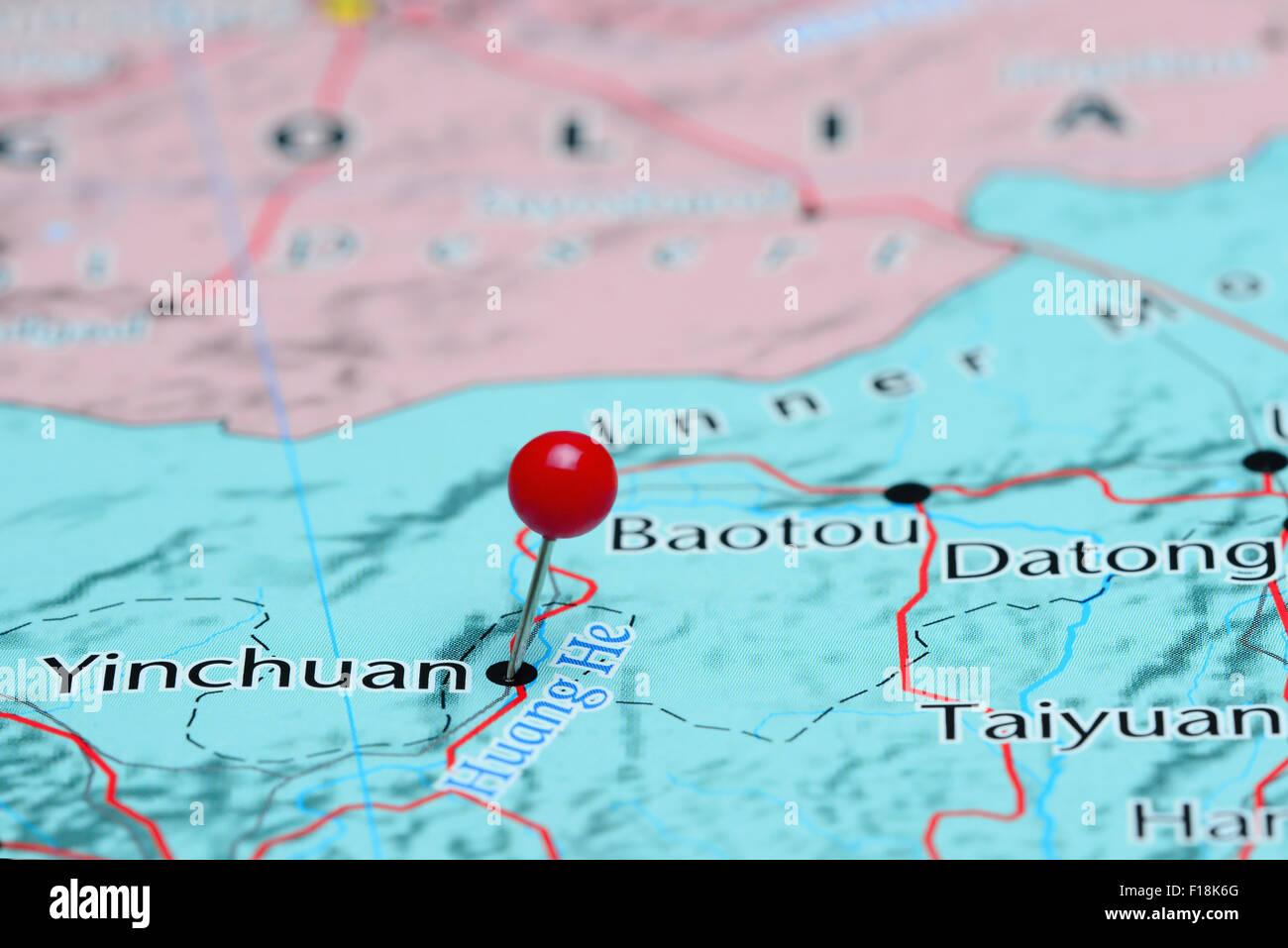 Yinchuan épinglée sur une carte de l'Asie Banque D'Images