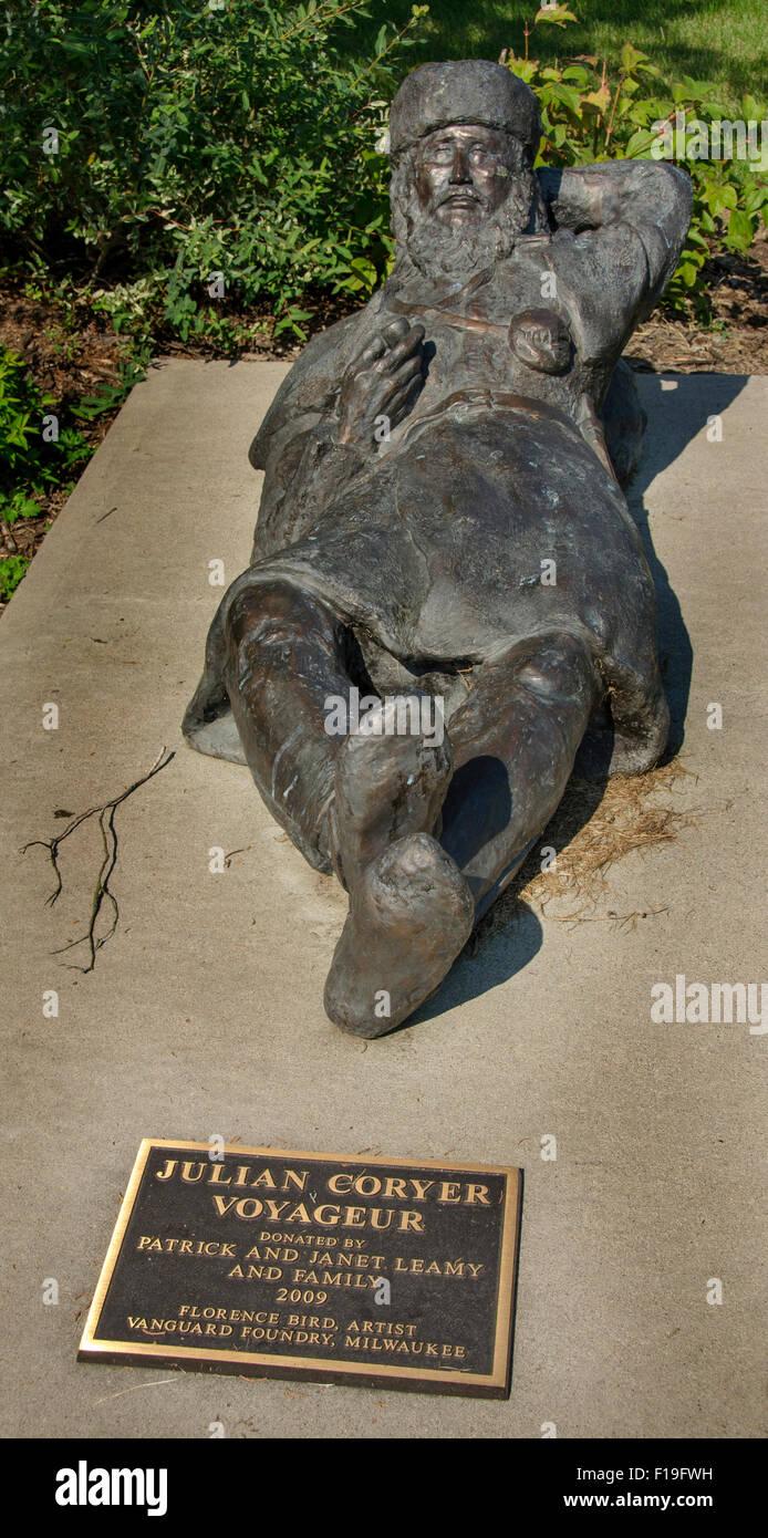 Statue de Julian/Coryer Le Voyageur. Canoeman Coryer était un professionnel ou qui ont voyagé en canot voyageur Banque D'Images