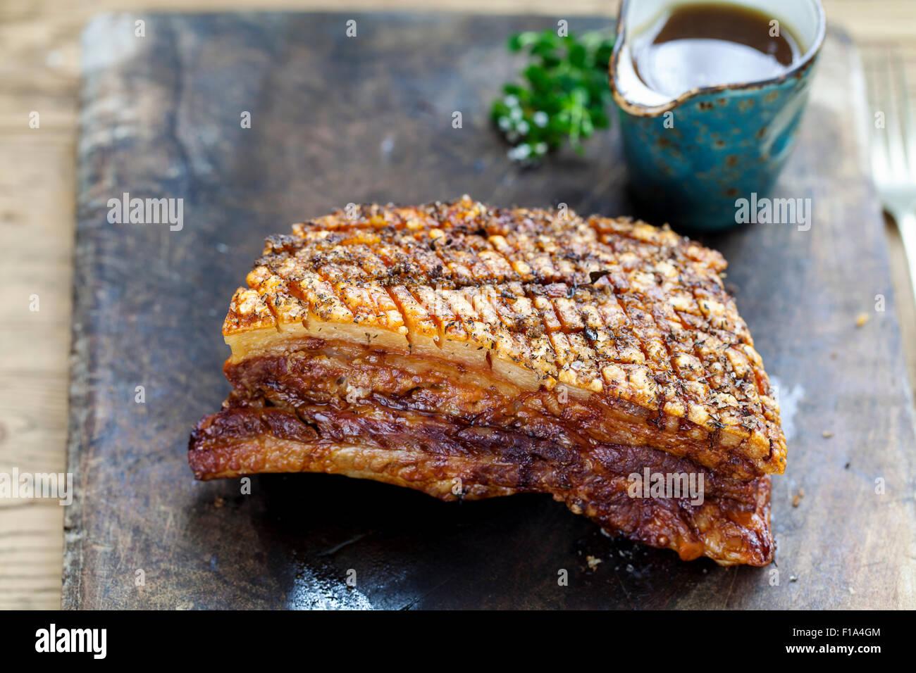 Flan de porc croustillant avec grésillement Photo Stock