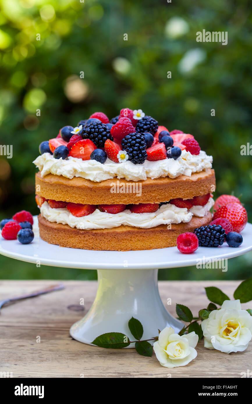 Summer berry cake Photo Stock