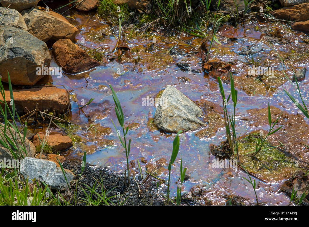 La pollution en cas de déversement d'hydrocarbures en stream Photo Stock