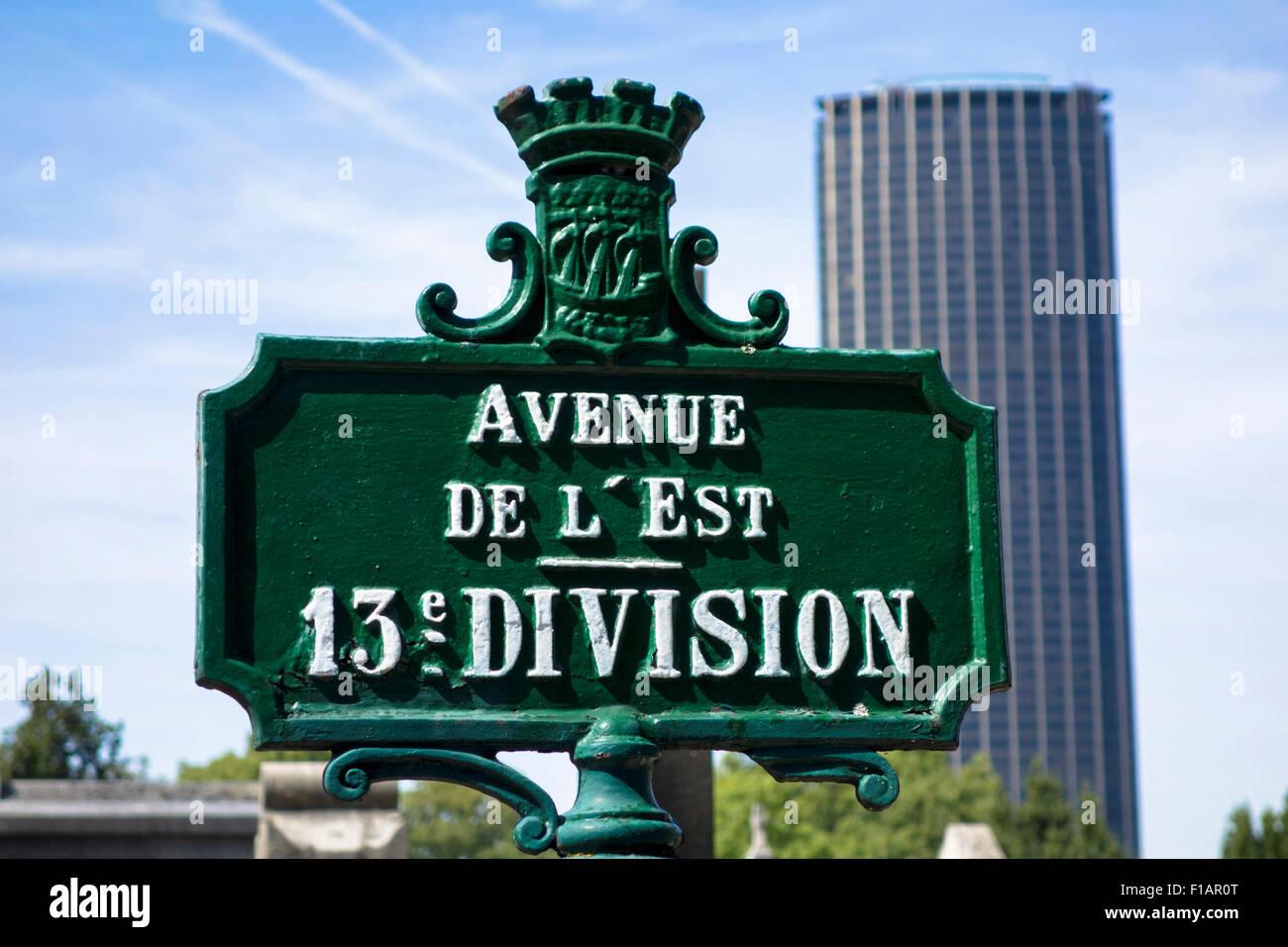 Signe sur la rue du cimetière Montparnasse, Paris Photo Stock