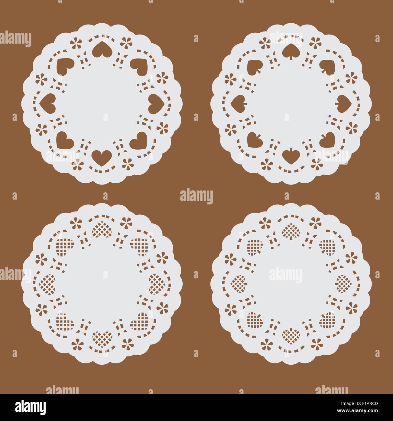 Papier coaster,la texture du papier perforé bannière avec cœur et cosse dans forme du cercle Photo Stock