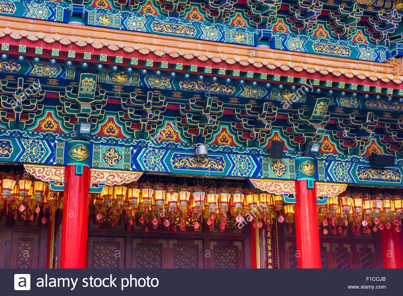 Détail de l'autel principal à la maison (de Wong Tai Sin temple de Sik Sik Yuen), district de Wong Photo Stock