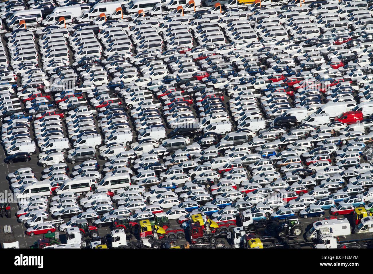 Les véhicules nouvellement importés dans les ports d'Auckland, Auckland, île du Nord, Nouvelle Photo Stock