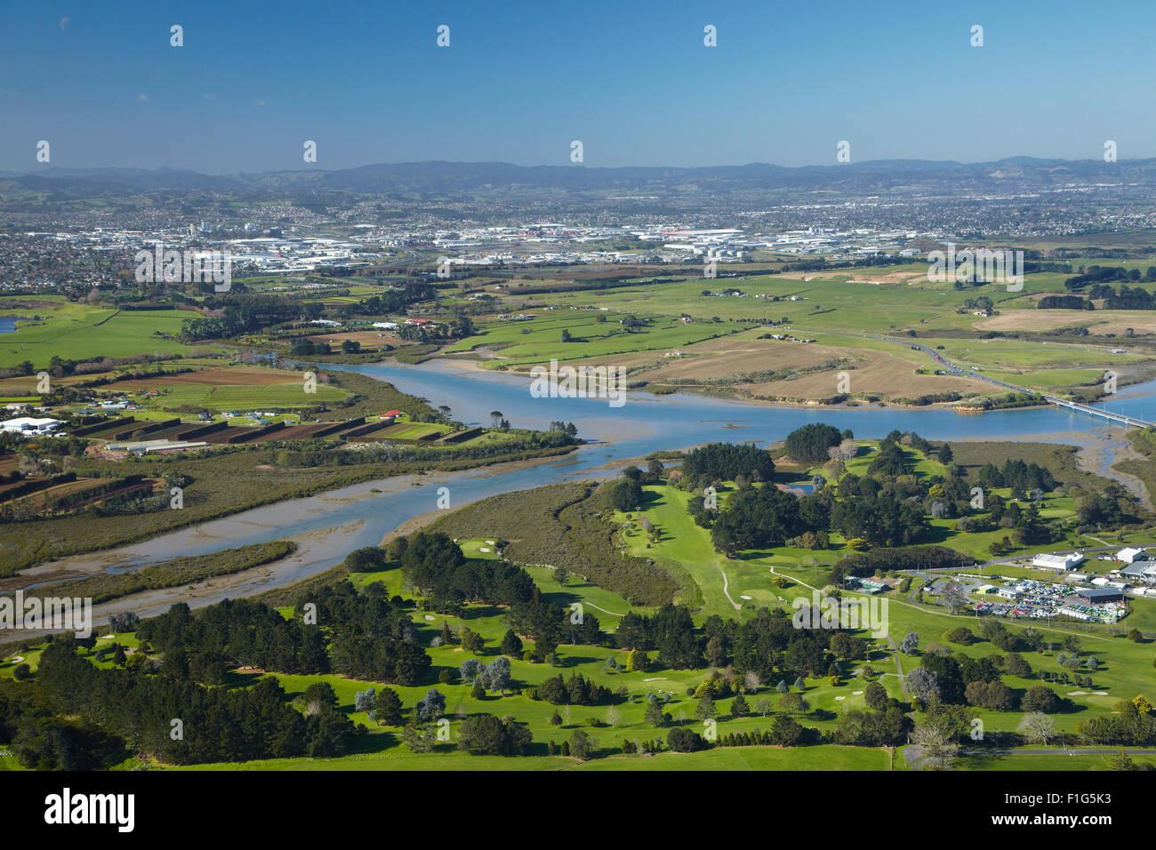 Pukaki Creek, et d'aviation Country Club Golf Course, par l'aéroport d'Auckland, Auckland, île Photo Stock