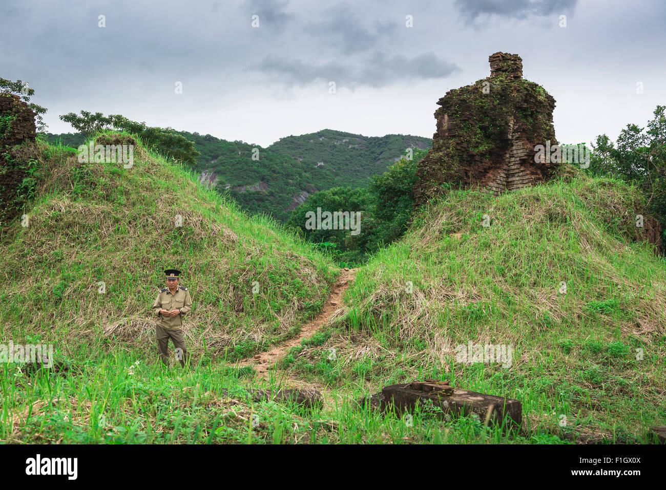Mon fils du Vietnam, le complexe du temple en ruines Cham de My Son, dans le centre du Vietnam est une destination Photo Stock